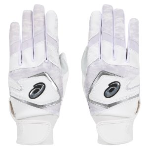 [ASICS] 3121A353 BATTING COLOR GLOVE (WHITE/SILVER)