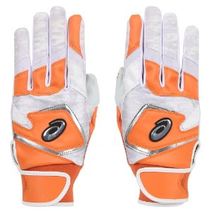 [ASICS] 3121A353 BATTING COLOR GLOVE (ORANGE/SILVER)