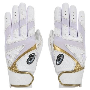 (무료자수) [ASICS] 3121A349 BATTING GLOVE 배팅장갑 (WHITE/GOLD)