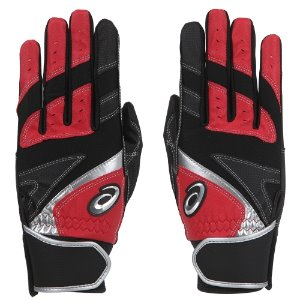 (무료자수) [ASICS] 3121A349 BATTING GLOVE 배팅장갑 (RED/BLACK)